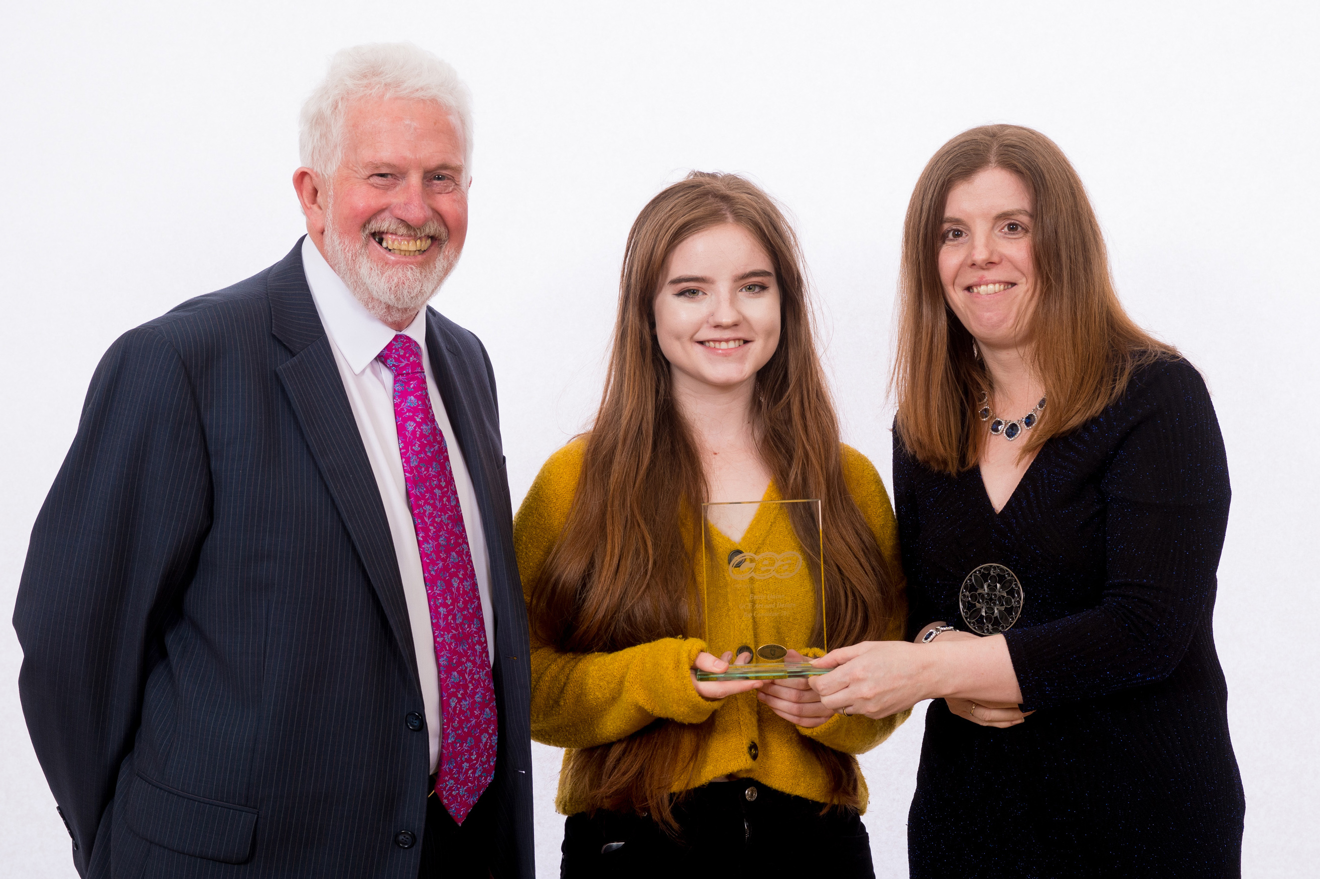 CCEA Chairman Trevor Carson pictured with Emily Quinn who was placed joint First in Art at A-Level and Head of Art Mrs N. McKernan.