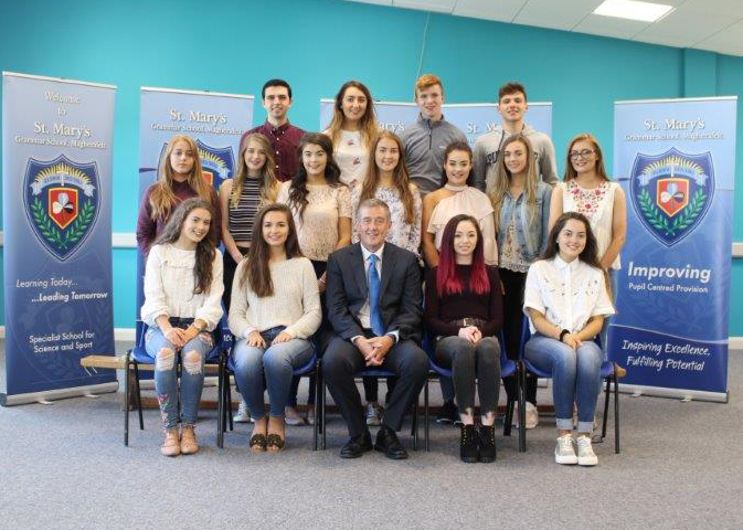 Students who achieved 2A or more pictured with Vice Principal Mr F Dunlop