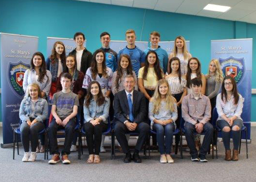 Students who achieved 3A or more pictured with Vice Principal Mr F Dunlop