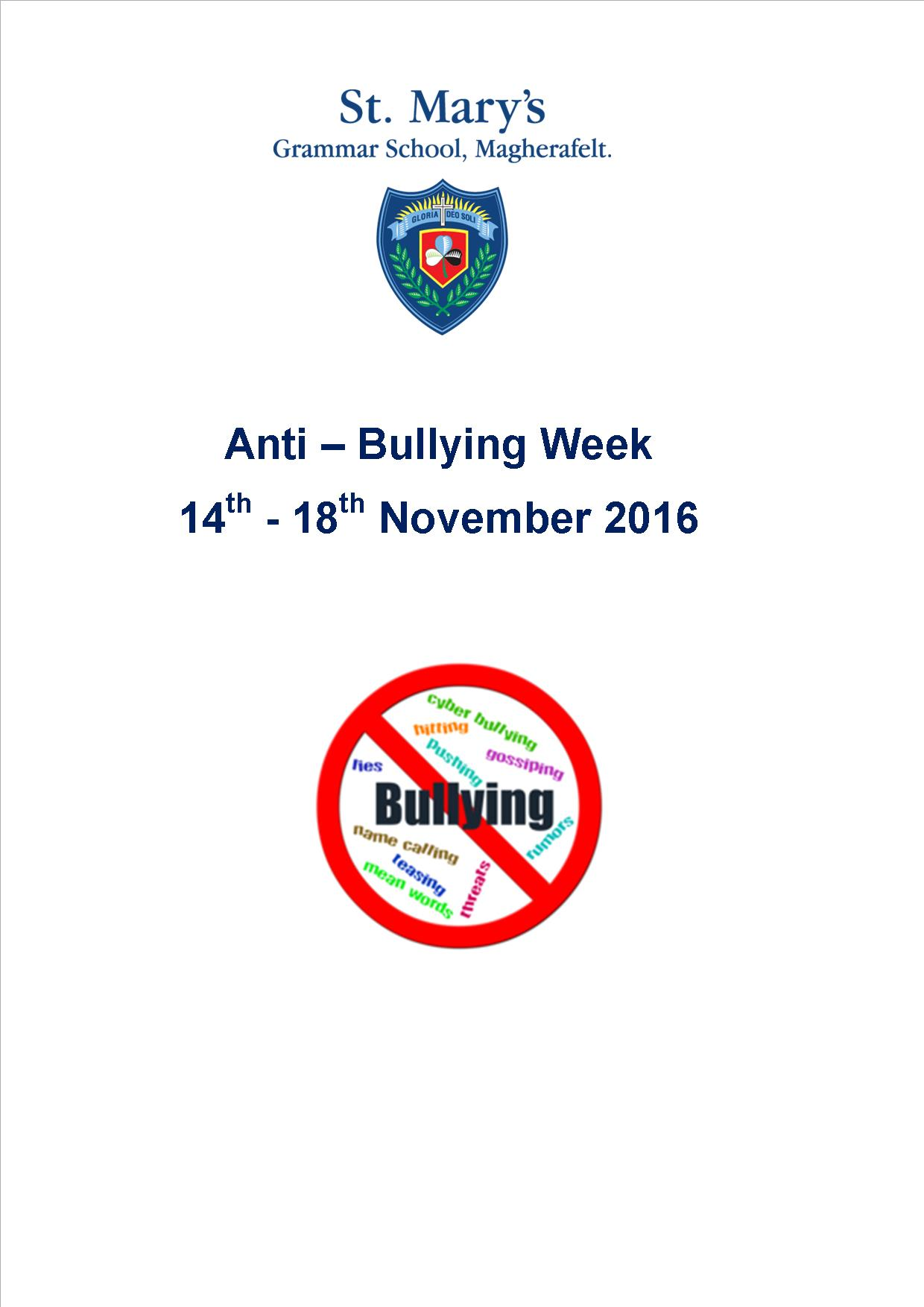 Anti-Bullying Week 14th - 18th November 2016