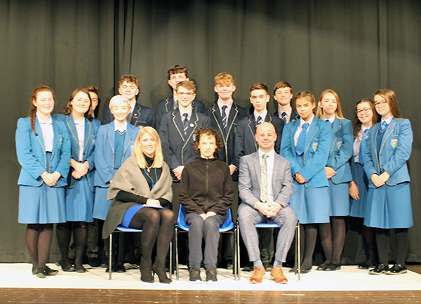 GCSE and A Level Drama and Theatre Studies students pictured with actress, Anna Kyle, Mr G. Quinn (Senior Leader) and Barbara Teague (Autism Advisory and Intervention Officer, EA).