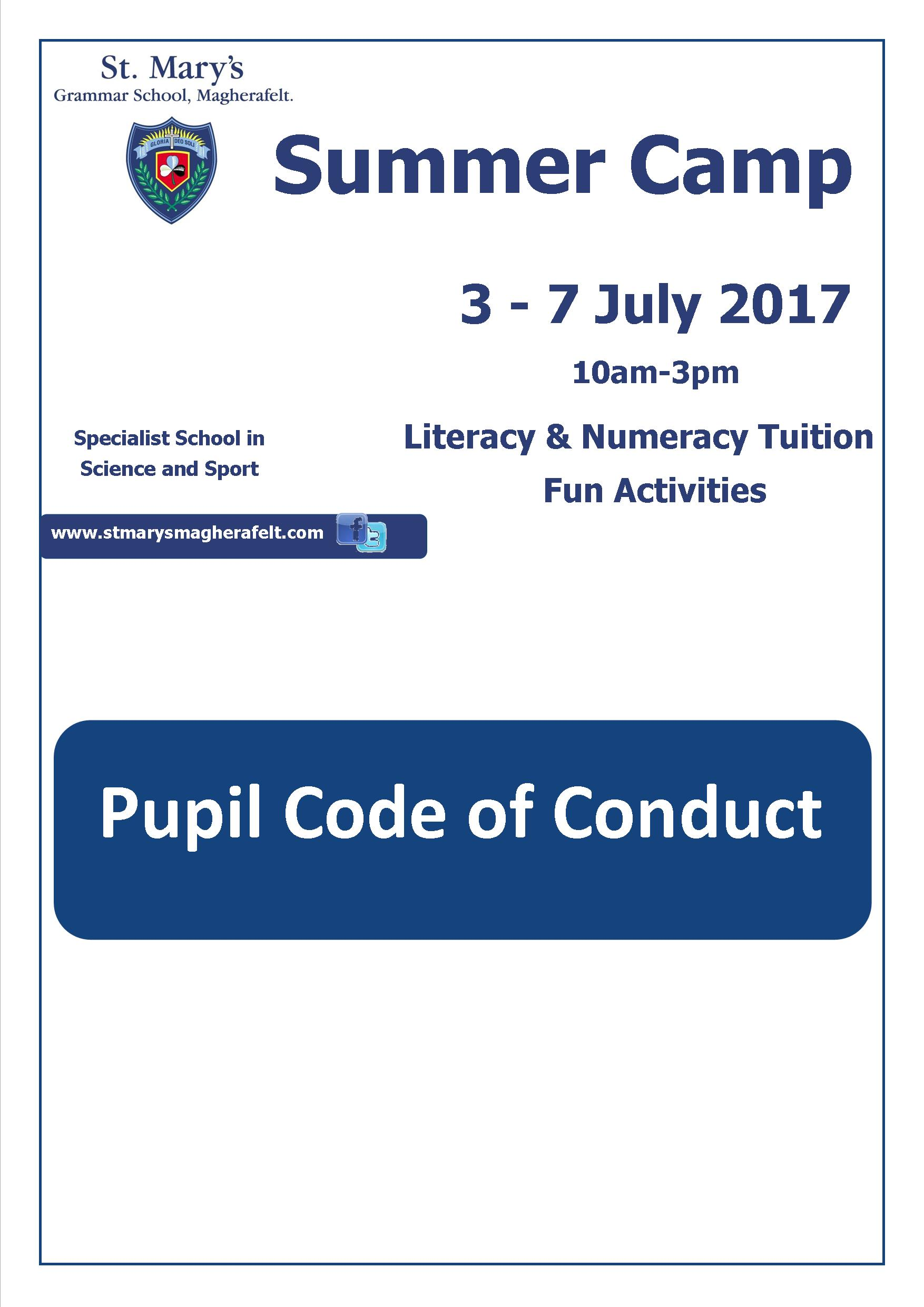 Summer Camp Pupil Code of Conduct