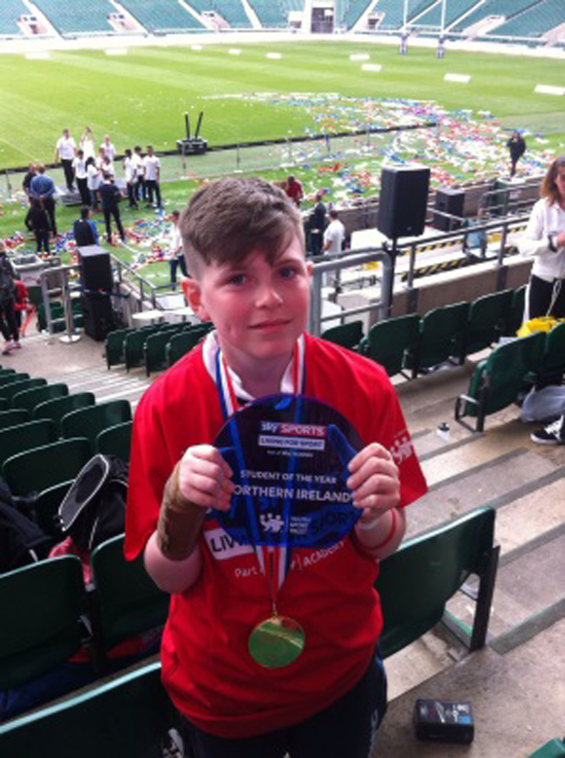 Oisin pictured with his Sky Sports Living for Sport Awards at Twickenham